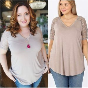 CALLING MY NAME LUXE LACE SLEEVE PLUS SIZE TOP